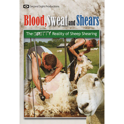 Picture of the DVD cover (men shearing sheep)