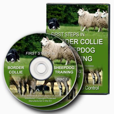 Image showing the case and two discs from the sheepdog training DVD set First Steps in Border Collie Sheepdog Training