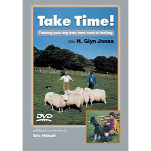 DVD cover picture showing Glyn Jones training a sheepdog