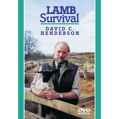 Cover picture of the DVD showing a shepherd holding a black faced lamb in a lambing pen