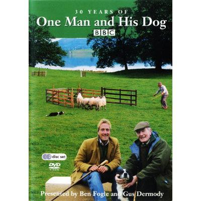 Cover of the DVD showing Ben Fogle and Gus Dermody with a man and dog penning some sheep in the background
