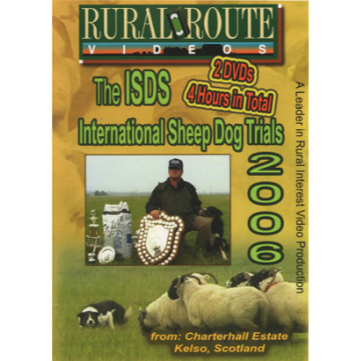 Cover picture of the DVD showing a dog working sheep, and a winner holding his trophy