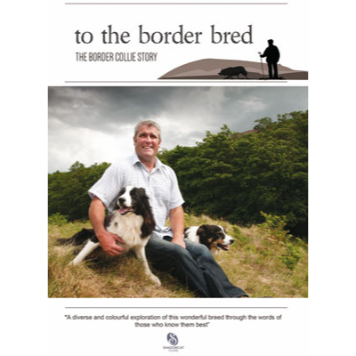 Cover picture of the DVD showing a man sitting on the ground with two border collie sheepdogs